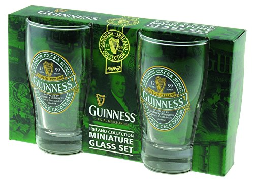 Glass Shot Pilsner (Guinness Green Collection Mini Pint Glass, Set of 2 - Shot Glass Size - Perfect for St. Patrick's Day)