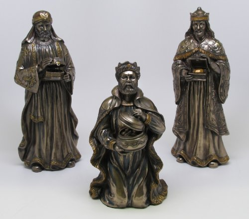9 Inch Wise Men Nativity Characters Bronze Finish Figurines, Set of 3 - Bronze Nativity Set