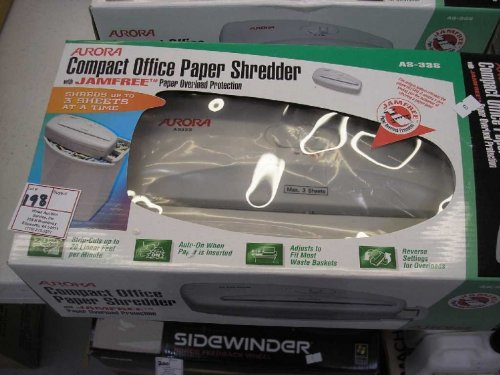 Aurora Compact Office Paper Shredder #AS-33S, Slightly Used