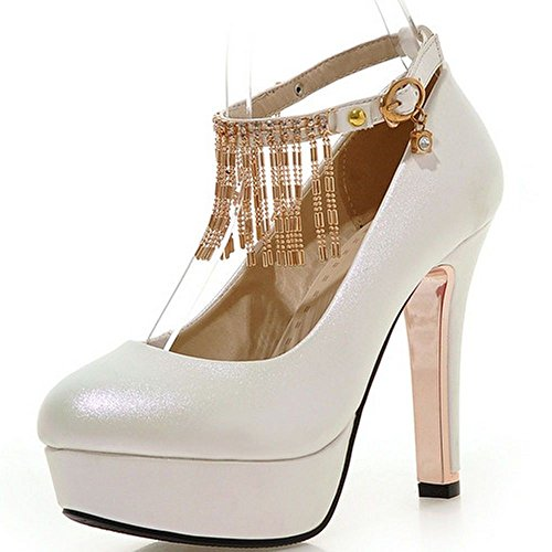 Women Heels Block Chain Strap Toe Pumps Round Shoes Heeled Platform White LongFengMa dqzxwagd
