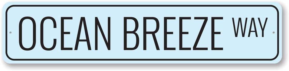 "Ocean Breeze Way Sign, Custom Beach Street Sign, Ocean Lover Gift Sign, Beach House Decor, Sea Home Aluminum Decor - 6"" x 24"""