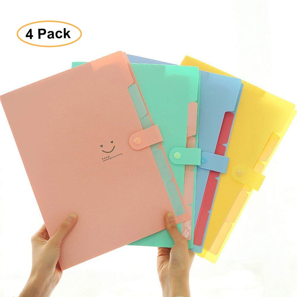 FHEAL File Folders 5 Pockets (4 Pack) Plastic Expandable File Organizer A4 Letter Size, 4 Solid Color Accordion Document Organizer
