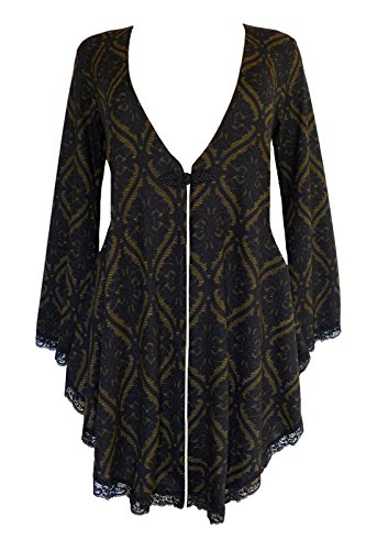 Dare to Wear Victorian Gothic Boho Women's Plus Size Embrace Corset Sweater Olive Tarot 1X]()