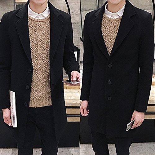 Toimothcn Men Single Breasted Pea Coat Formal Business Blazer Suit Long Jacket Outwear (Black,XXL) ()