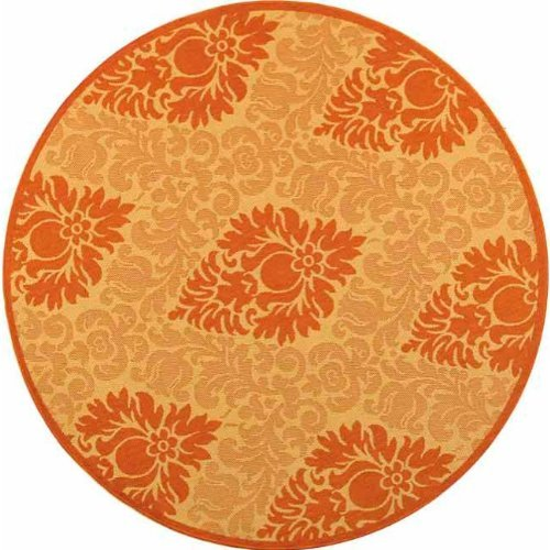 Safavieh Courtyard Collection CY2714-3201 Natural and Terra Indoor/ Outdoor Round Area Rug, 6 feet 7 inches in Diameter (6'7 Diameter) by Safavieh - Cy2714 Natural