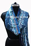 Mango Gifts Women's Silk Sari Fabric Scarves Scarfs 5 Strips Patti Trendy Stole