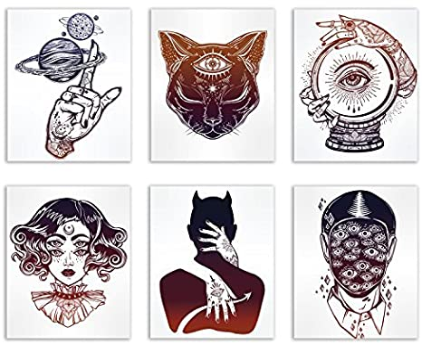 Occult Tattoo Prints Set Of 6 Alchemy Witch Devil Wall Art Decor Photos 8x10 Third Eye Cat Planets Ball Creepy Eyes Posters Prints