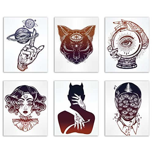 Tattoos Witch - Occult Tattoo Prints - Set of 6 Alchemy Witch Devil Wall Art Decor Photos 8x10 Third Eye Cat - Planets Ball - Creepy Eyes