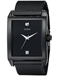 GUESS Mens Stainless Steel Diamond Dial Watch, Color: Black (Model: U0298G1)
