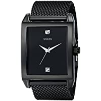 GUESS Men's Stainless Steel Diamond Dial Watch, Color: Black (Model: U0298G1)