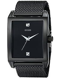 GUESS Men's U0298G1 Diamond-Accented Black-Mesh Watch