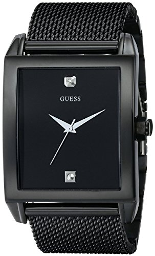 GUESS  Mesh Black Ionic Plated Rectangular Genuine Diamond Watch. Color: Black (Model: U0298G1) (Guess Black Diamond Accent Watch)