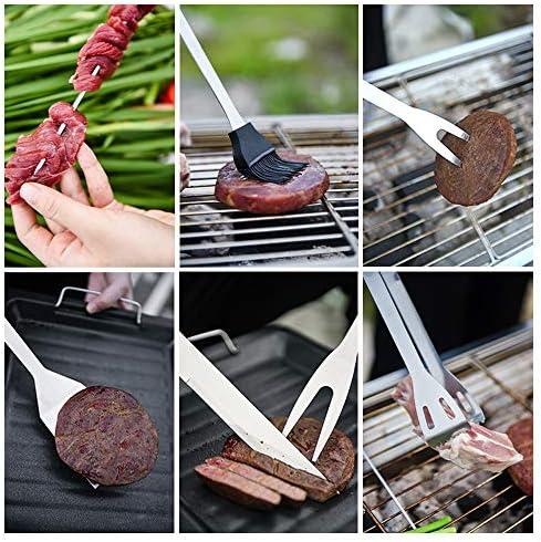 Ruiao Lot de 9 ustensiles de barbecue en acier inoxydable pour barbecue, pince, couteau, fourchette, brosse à badigeonner et brochettes pour camping, fête, pique-nique