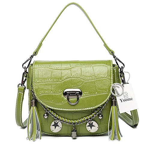 Shoulder Handbags Tassel Bags Girls Yoome Women Cowhide Green Style Crocodile for Mini Bags Punk Pattern for with fxqE4F