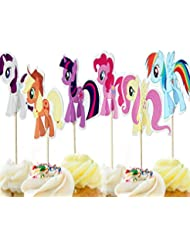 jinhuamike My Little Pony Cupcake Toppers Picks for Kids Baby Shower Birthday Party Cake Decoration Supplies Set of 24