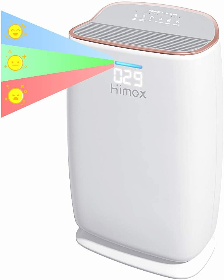 Himox Air Purifiers for Home Large Room, Medical Grade H13 True HEPA Filter for Allergies and Pets, 20dB Quiet Air Cleaner for Bedroom Office Home, Adjustable Timer, Remove 99.97% Air Pollutants (Smoke, Mold, Germs, Pollen) 290 sq.ft - H04 (Rose Gold)