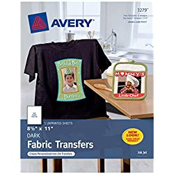 "Avery Dark T-Shirt Transfers, Matte, 8.5"" x 11"", 5 Sheets - Make your Own Christmas Shirt (3279), White"