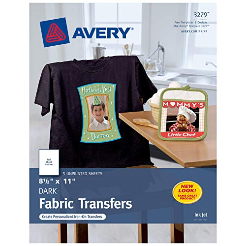 Avery Printable T-Shirt Transfers, For Use on Dark Fabrics, Inkjet Printers, 5 Paper Transfers (3279), White