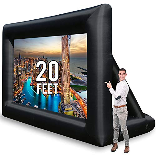 Jumbo 20 Feet Inflatable Outdoor and Indoor Theater Projector Screen - Includes Inflation Fan, Tie-Downs and Storage Bag - Updated Version