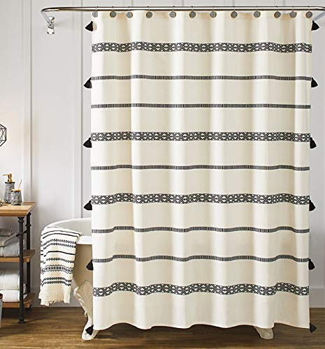 YoKii Tassel Fabric Shower Curtain, Black and Beige Stripe Print Boho Polyester Bath Curtain Set with Hooks, Decorative Spa Hotel Heavy Weighted 72-Inch Bathroom Curtains, (72 x 72, 80's Boho)