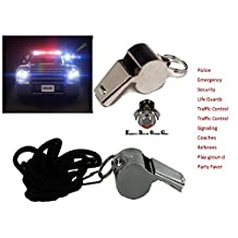 EDOG Metal Police Whistle- Perfect for Police, Security, Traffic Control, Lifeguards & Emergency- Set of 2 With Lanyards