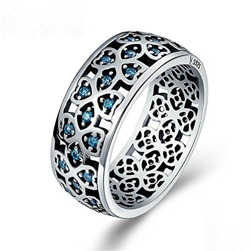 Baqijian Sterling Love Sweet Clover Blue Finger Rings Women Engagement Jewelry S925 Gift Scr064