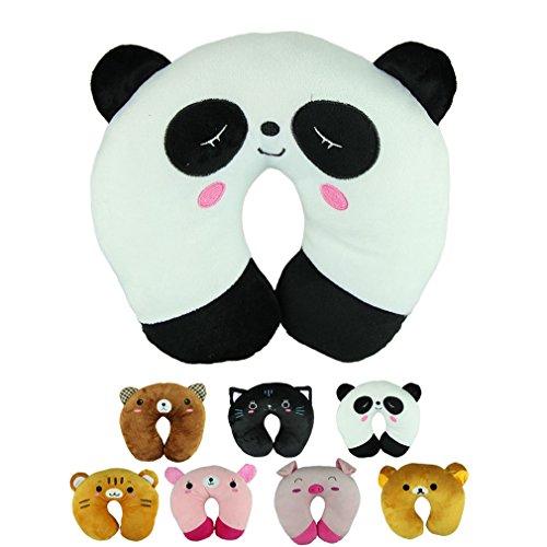 Voberry® Cute Cartoon Panda Cats Bear Pig Pattern Design Travel Car Home Pillow, U Shape Neck Pillow Rest pillow Protect Neck Cervical Spine (WhitePanda)
