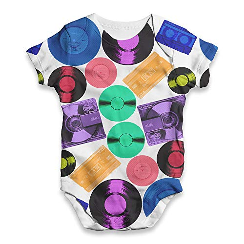 TWISTED ENVY Baby Grow Onesie Retro CDs and Vinyl White 3-6 Months