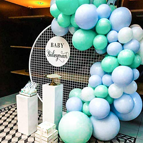 PartyWoo Blue and White Balloons 60 pcs 10 Inch Teal Balloons Turquoise Balloons Baby Blue Balloons White Balloons for Boy Baby Shower Decorations, Blue Baby Shower, Boy Birthday, Teal Baby Shower ()