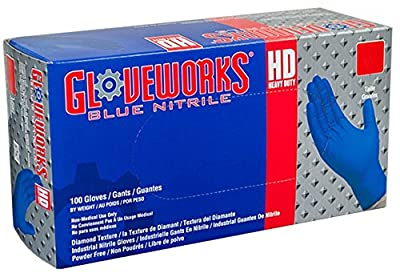 AMMEX - GWRBN44100-BX - Nitrile Gloves - Gloveworks - HD, Disposable, Powder Free, 6 mil, Royal Blue
