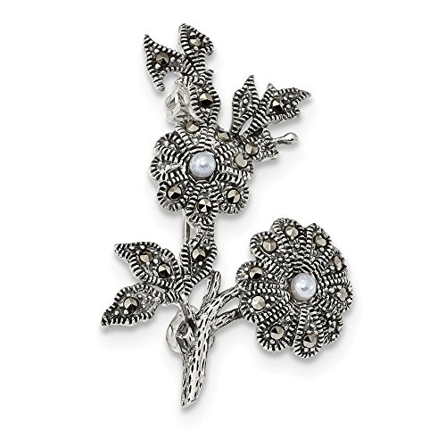 Marcasite And Pearl Pin (Best Birthday Gift Sterling Silver Antiqued Marcasite & Acrylic Pearl Flowers Pin)
