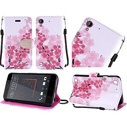 Htc Flip Phone (HTC Desire 530 / 550 / 555 / 630 case, Luckiefind PU Leather Flip Wallet Credit Card Cover Case, Stylus Pen Accessory (Wallet Sakura))