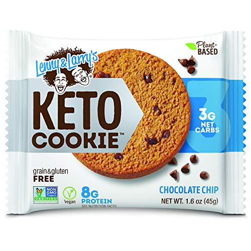 Lenny & Larrys Keto Cookie, Chocolate Chip, 1.6oz - 12 Count, Low Carb, Plant-Based Protein Cookies, Vegan and Non-GMO