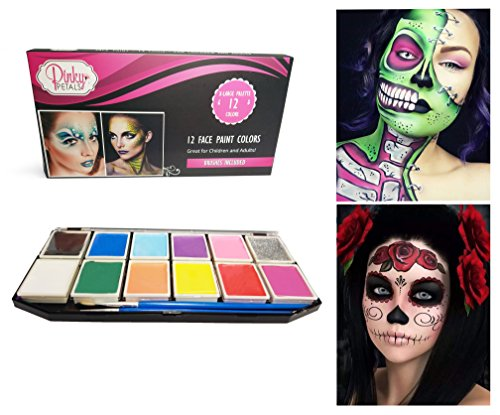 [Face Paint Kit for Kids and Adults - 12 Colors XL Set with 1 Glitter and 1 UV Glow Color - 2 Brushes Included, Safe Water-Based Non-Toxic by Pinky] (Rave Monster Costume)