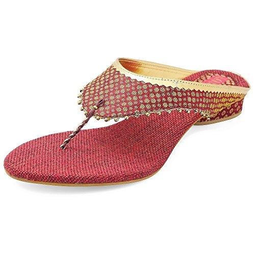 Footrendz Women #39;s Ethnic Appealing Fabric Heels