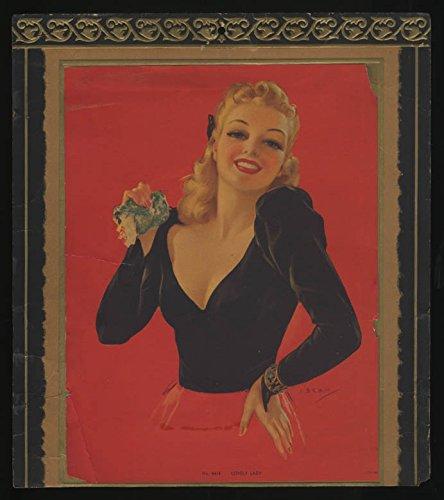 J Erbit pin-up calendar topper Lovely Lady ca 1940s