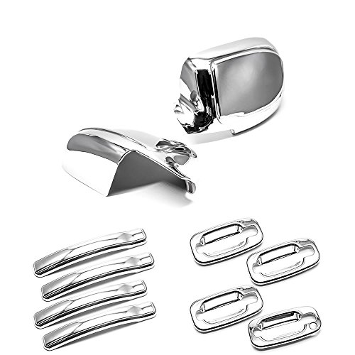 eRushAutoparts Ultra Chrome Mirror+4 Door Handle+Plates Covers For 99-06 Chevy Chevrolet Silverado GMC Sierra Perfect Fit4doors only not fit towing mirrors