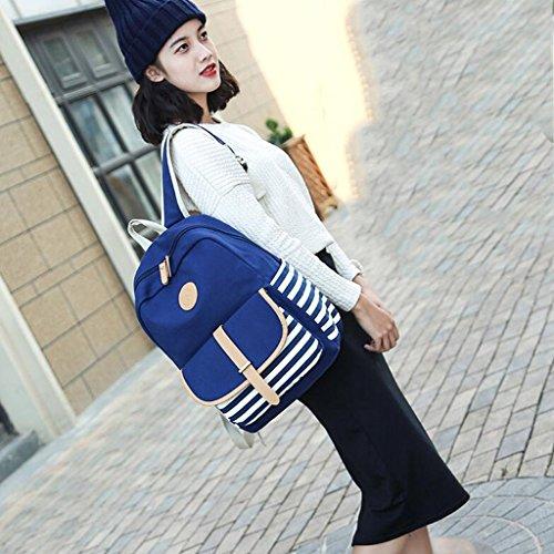 Sac à dos en toile pour femme Liu - Haute qualité universitaire (dimensions: 29 * 13 43cm) Bleu