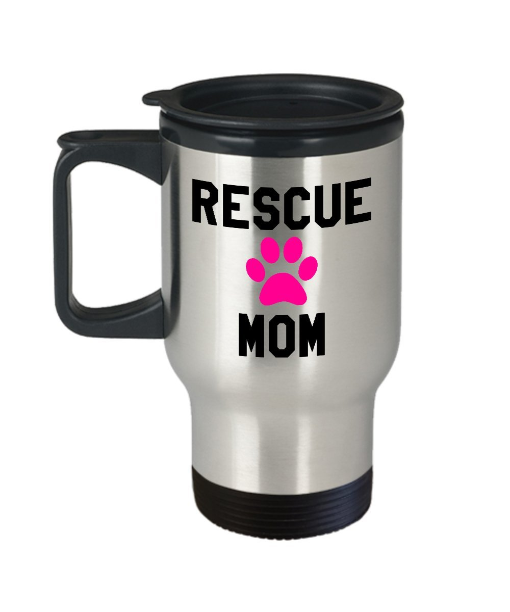 Rescue Mom Travel Mug - Insulated Portable Coffee Cup With Handle And Lid For Animal Adoption Lovers - Nice Christmas Holiday Gift Idea For Women - Novelty Dog And Cat Quote Statement Accessories