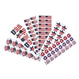 Patriotic Stickers Assortment - Pack of 100 USA Flag Sheets for the 4th of July, Party Favors, Game Prizes, Novelty Toys, Wall Decals, Creative Scrapbooks, Personalized Arts and Crafts by Kidsco