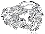Alilang Silvery Tone Crystal Rhinestone Lover Frog Couple w Kids Bracelet Bangle Cuff