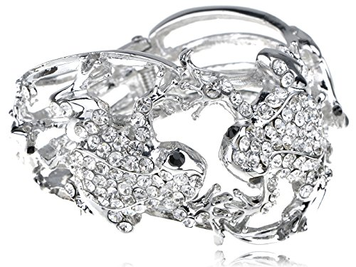 Alilang Silvery Tone Crystal Rhinestone Lover Frog Couple w Kids Bracelet Bangle Cuff by Alilang