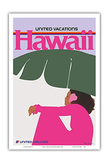 Hawaii United Air Lines 1970s Vintage Travel Poster Print