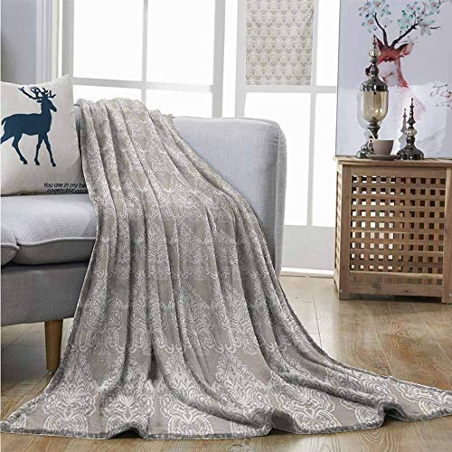Homrkey Office Blanket Taupe Ancient Royal White Damask Figures in Classic Baroque Style Rococo Abstract Vignette Mini Couch Blanket W54 xL84 Taupe White