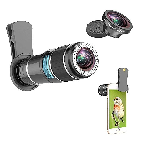 Cell Phone Telephoto Lens, ARORY 2 in 1 iPhone Lens Kit - 12X Telephoto Lens + Fisheye Lens, Universal Clip-On Cell Phone Lens for iphone 8, 8 plus, 7, 7 plus, 6, 6s, Samsung and Most Smartphone