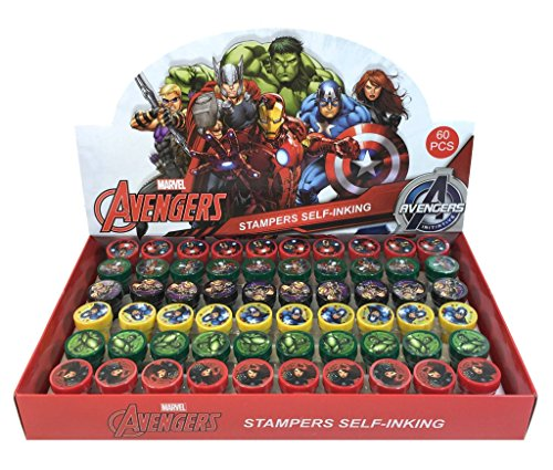 Marvel Avengers Self-inking Stamps Birthday Party Favors 60 Pieces (Complete Box) ()