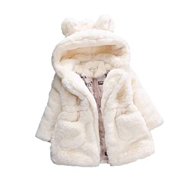 cea24c649815 Gemini mall Baby Girls Kids Hooded Rabbit Ears Coat Faux Fur Warm ...
