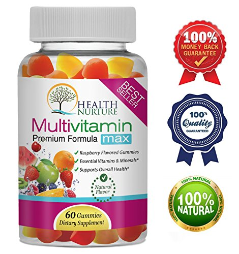 HEALTH NURTURE MULTIVITAMIN MAX- Best Gummy Vitamins for Men and Women- Contains Essential Minerals & Vitamins A, C, D, E, B-6, Vitamin B-12, Folic Acid, Biotin, Pantothenic Acid (Iodine Vitamins Prenatal)