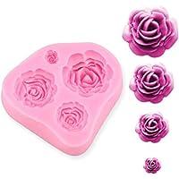 SUNKOOL NW-028 - Molde de silicona para tartas, diseño de flores de rosas