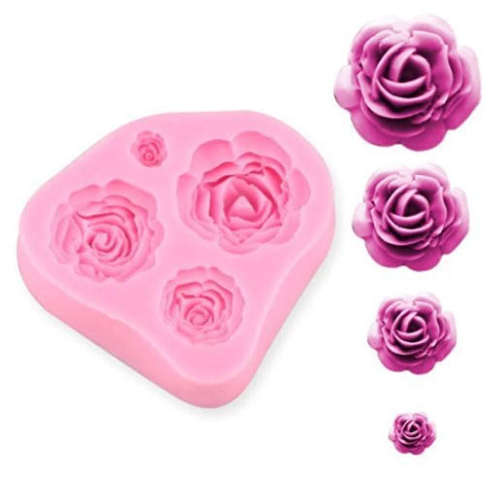 SUNKOOL NW-028 Roses Flower Silicone Cake Mold Chocolate Sugarcraft Decorating Fondant Fimo Tools 4 Size Pink 1 Piece